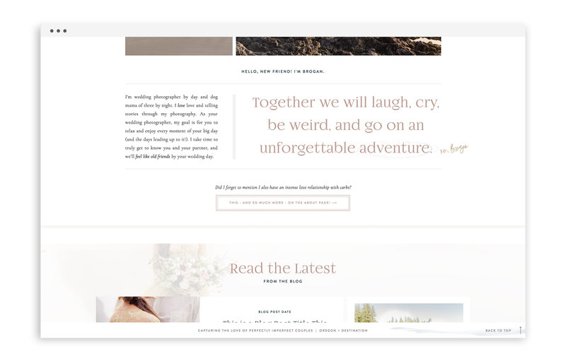Brogan Marie Photography - Custom Brand and Showit Web Design by With Grace and Gold - Branding and Web Design for Photographers - 2