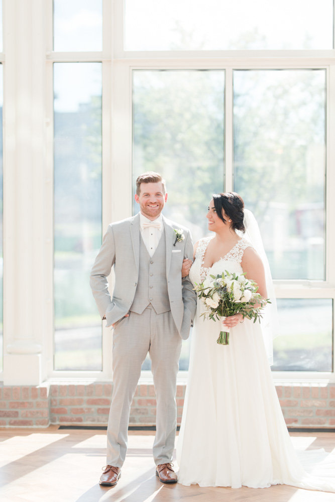 bride and groom during first look  at Stone House at Stirling Ridge Maryland Wedding by  Costola Photography