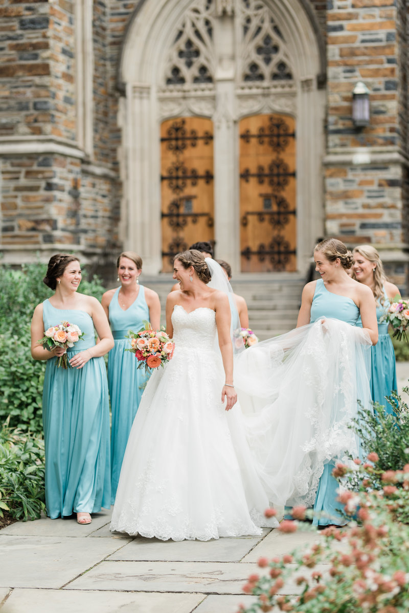 Bride and bridesmaids at Duke Chapel