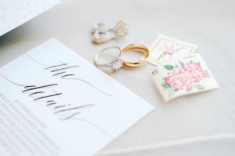 Bright and classic film inspired wedding ring detail photo