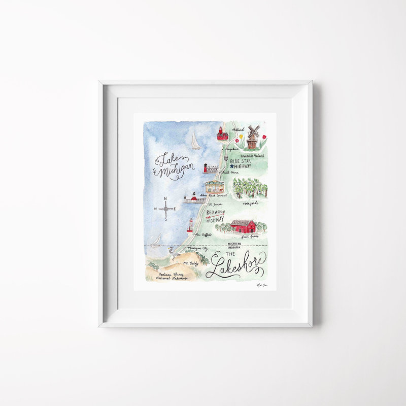 lakeshore michigan map watercolor art print mockup