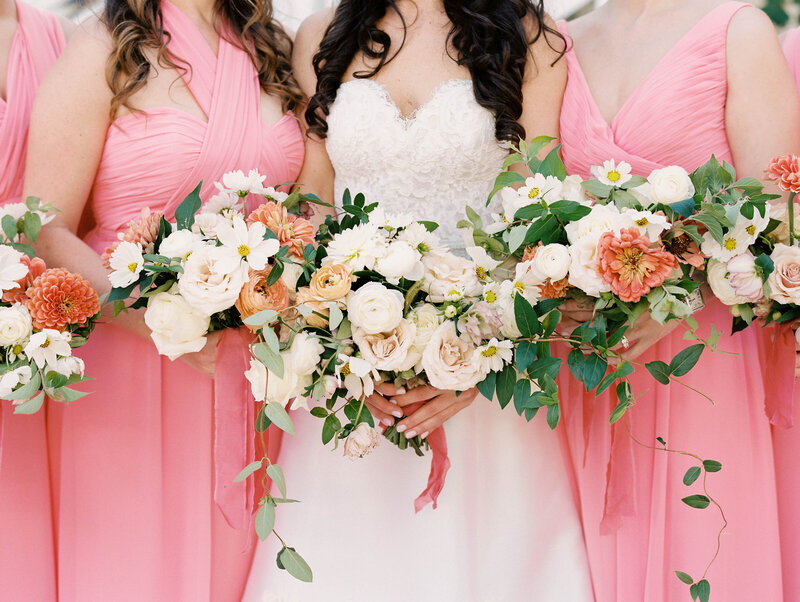 Coral Bridesmaids with Bouquets