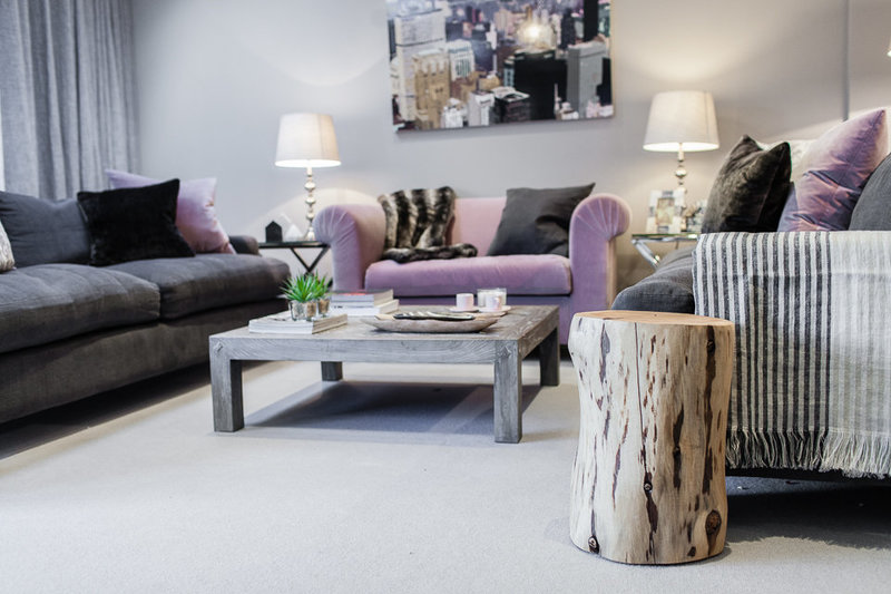 Family home open plan living space in greys with pops of colour