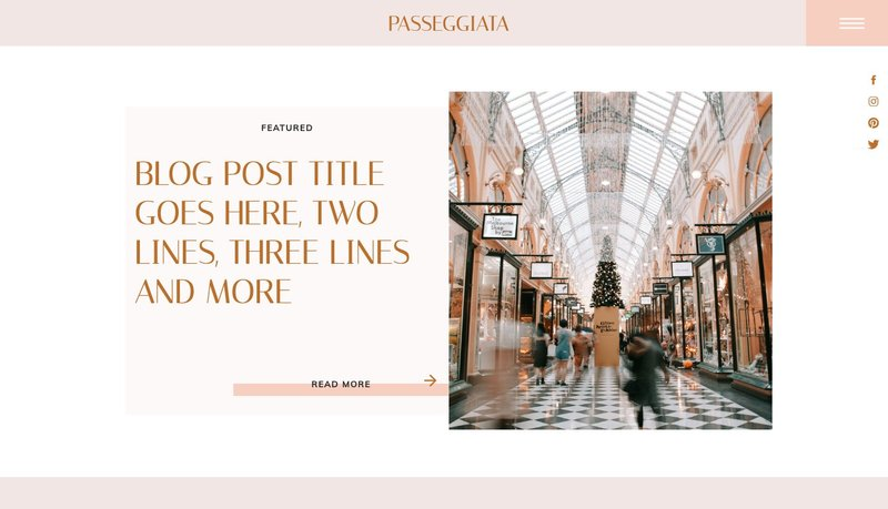 Passeggiata Showit Website Template Blog