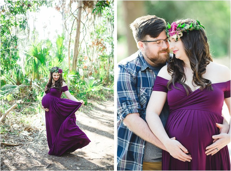maternity session flowy dress flower crown