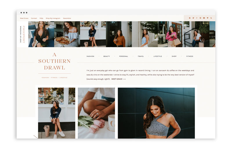 A Southern Drawl - Lifestyle Fitness Blog by Grace White - Custom Logo Design and Custom Showit Website Design by With Grace and Gold - 1