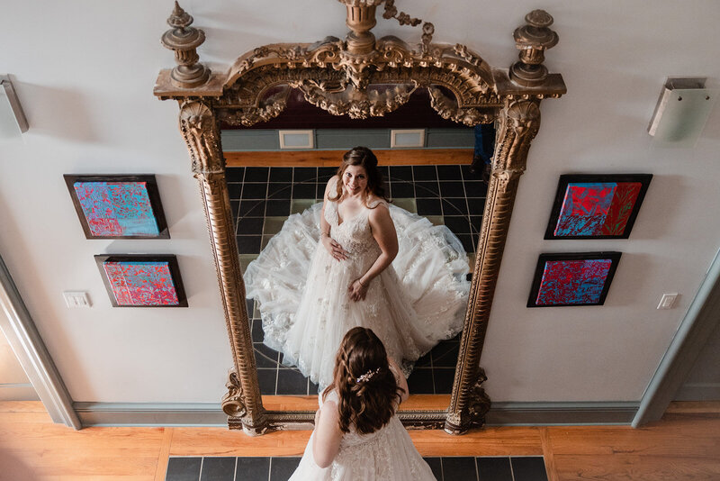 Bride in front of a mirror