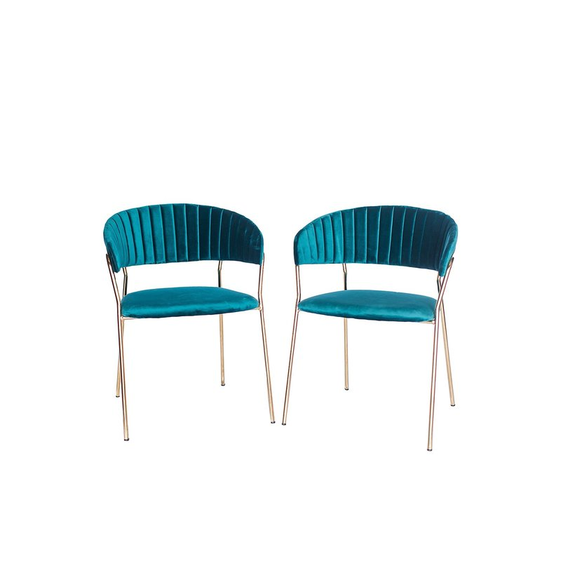 Velvet blue-green mid-century inspired chairs with gold metal arms and legs.