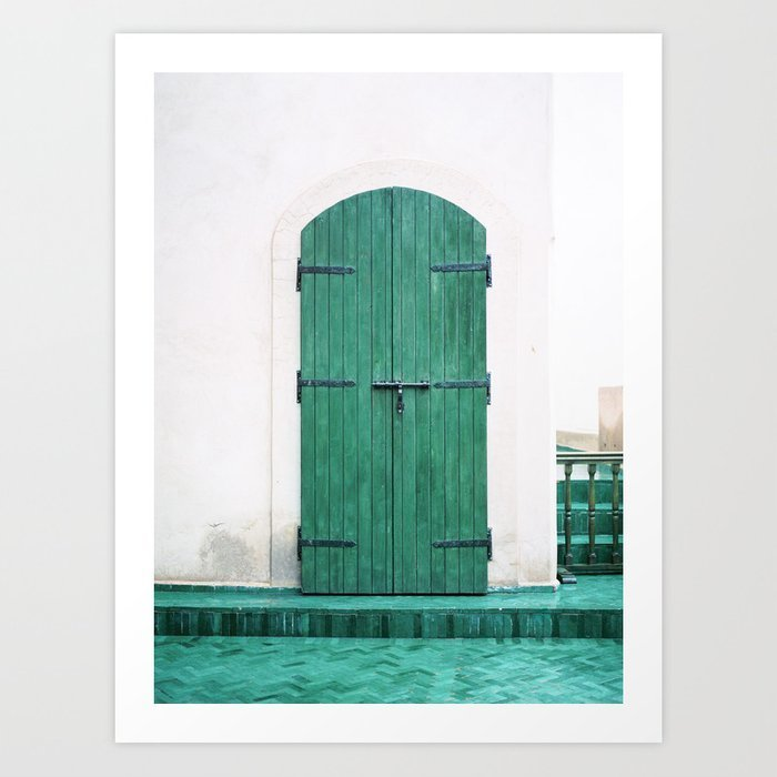 le-jardin-secret-turquoise-wooden-door-in-marrakech-colorful-travel-photograph-wanderlust-prints-2