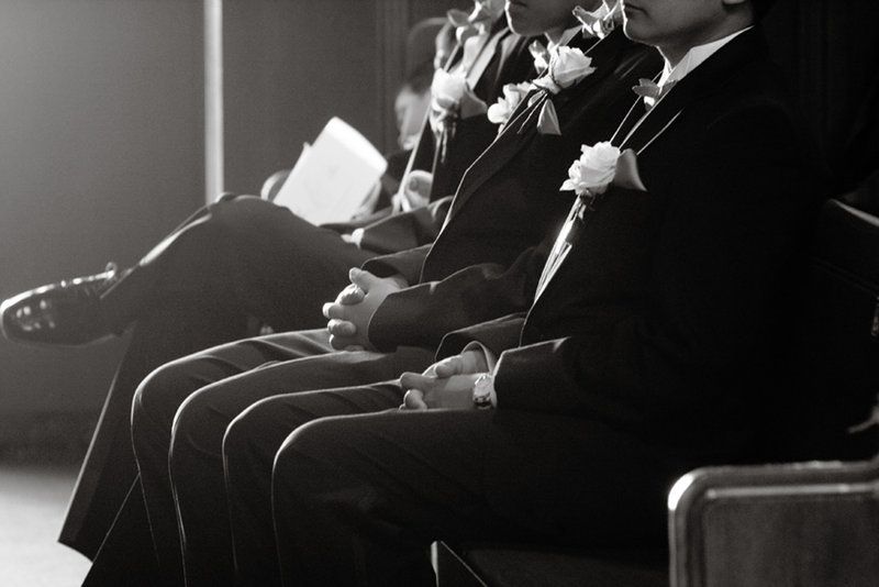 black and white detail at wedding