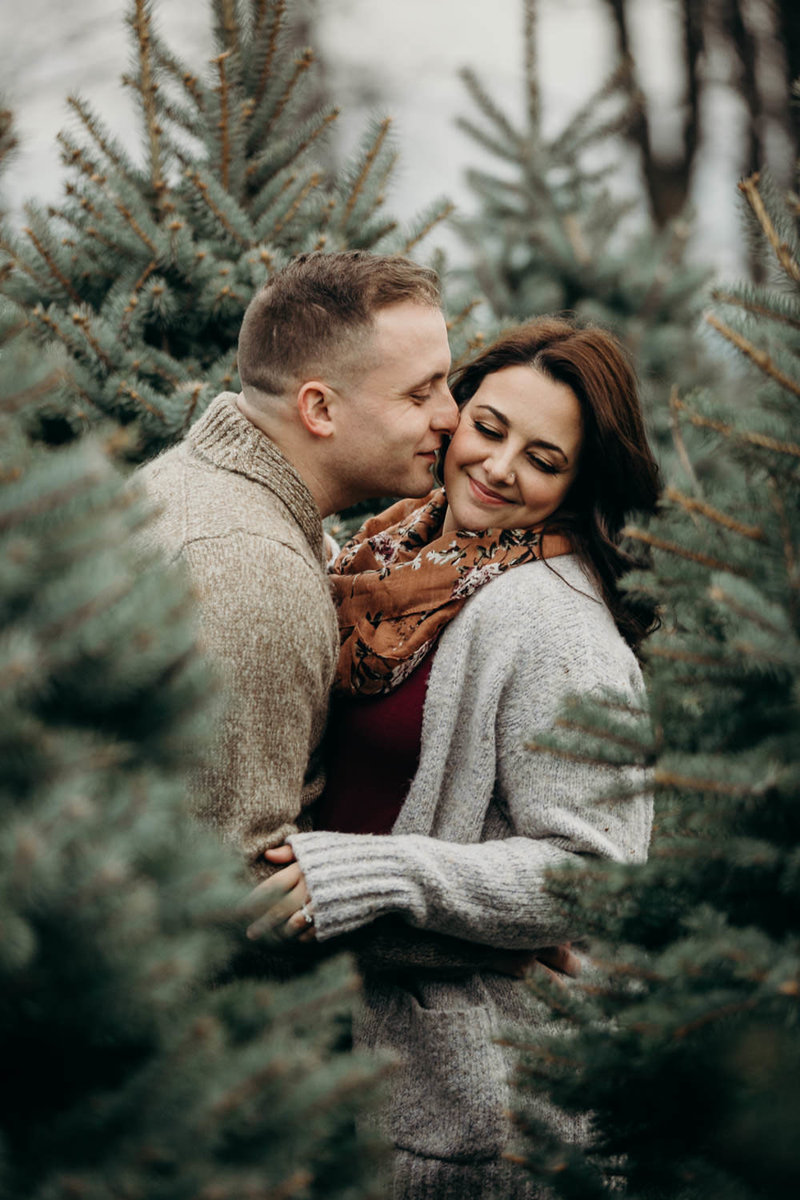 syracuse christmas tree farm engagement session