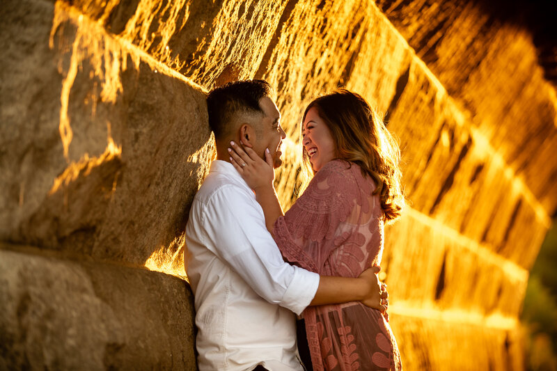Engagement photo captured during the golden hour for photography.