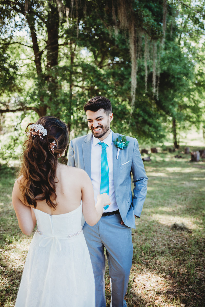 First look for a wedding couple