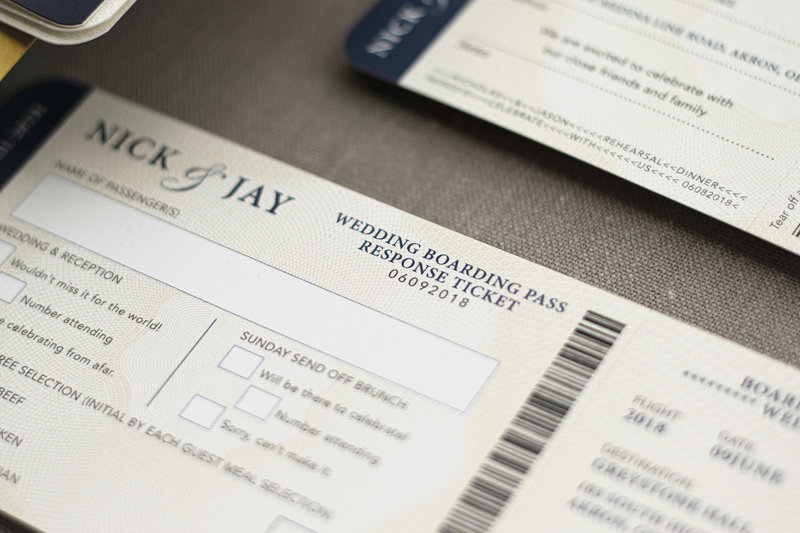 Creative travel boarding pass/response card.
