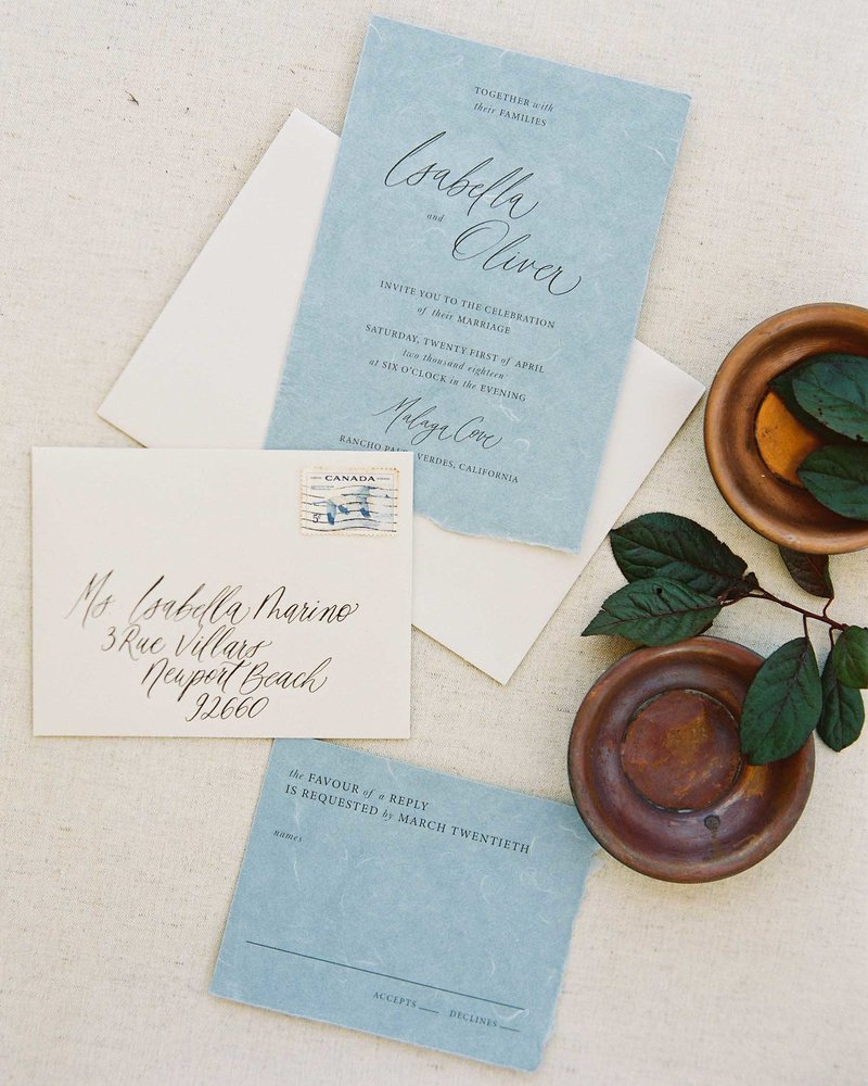 Plume & Fete coastal inspired fine art wedding invitation suite dusty blue