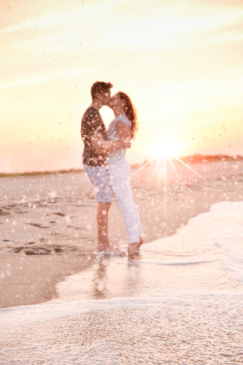 Summer sunset engagement session on a new jersey beach