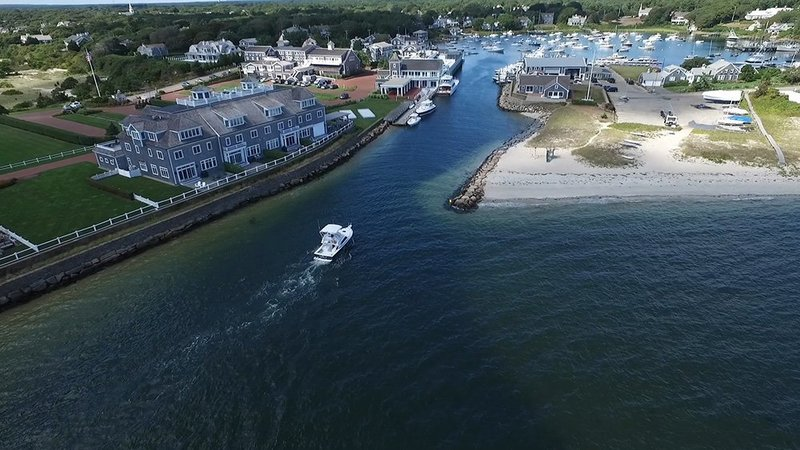 Aerial view of Wychmere harbor from HVS wedding video