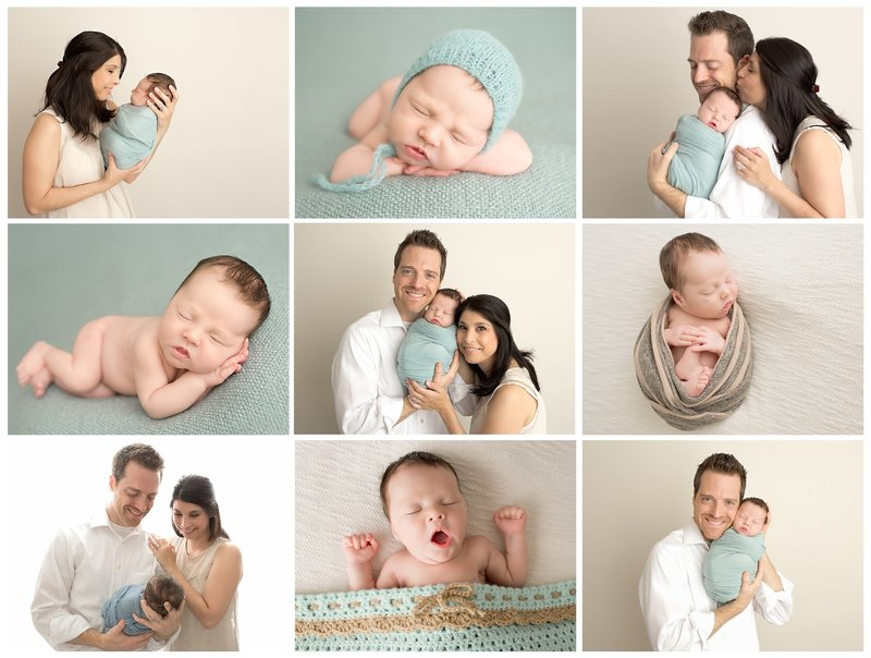 newborn session in teal and cream