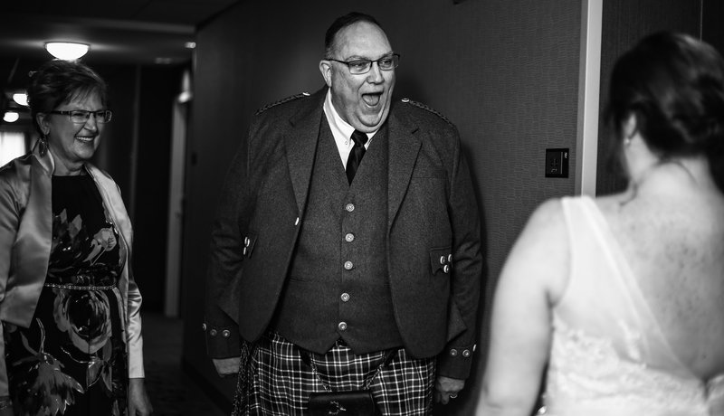 Father reacts to seeing his daughter during first look at Bushy Run Battlefield wedding