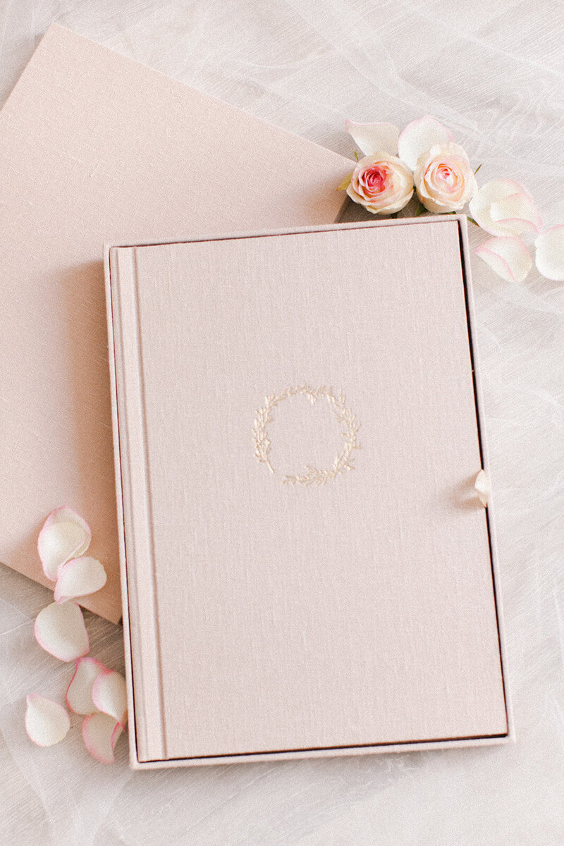 Luxury blush pink wedding album by QT Albums