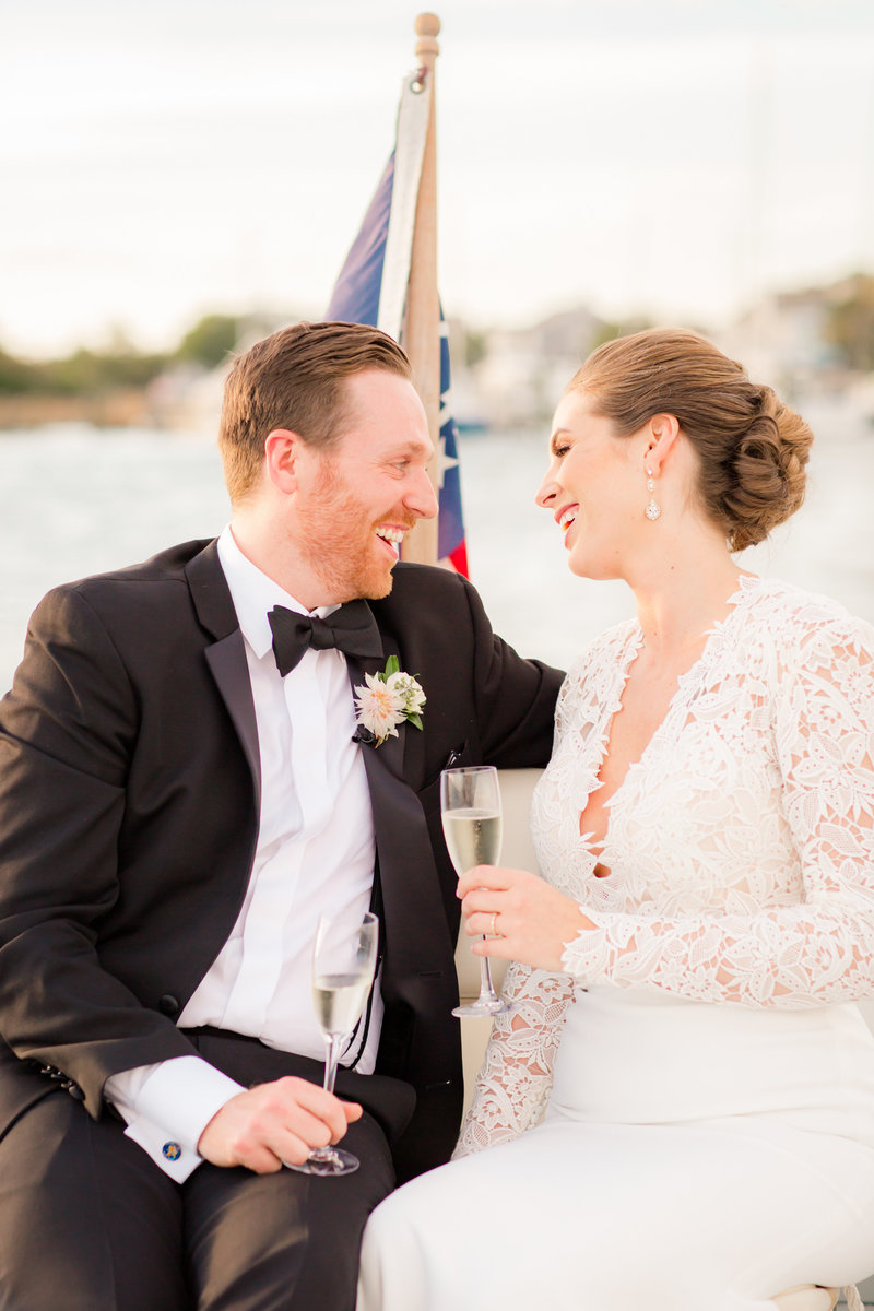 Joyful bride and groom at Bay Head Yacht Club