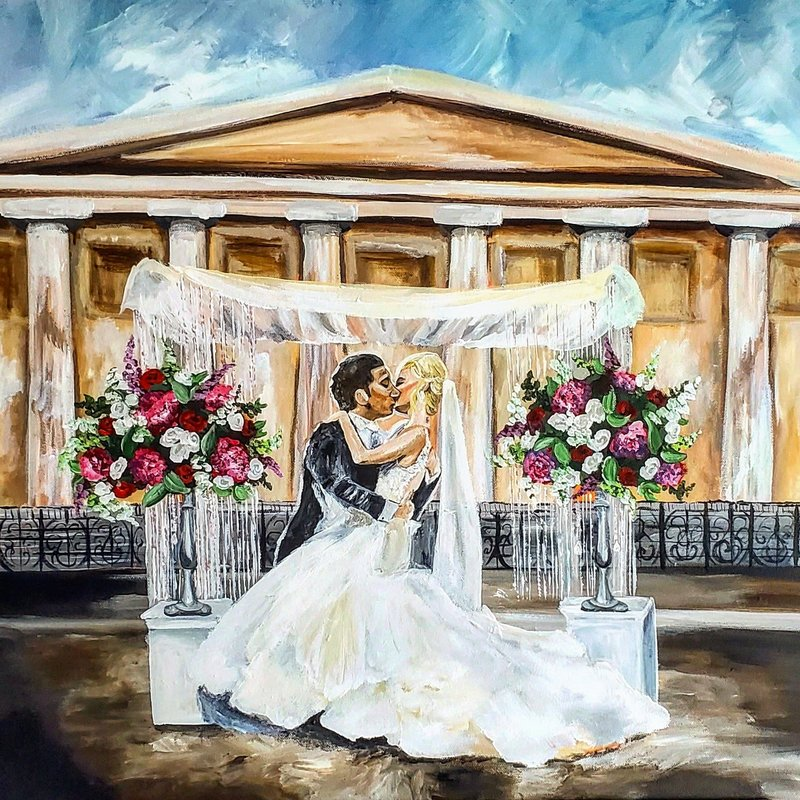 Philadelphia Pennsylvania Ceremony Live Wedding Painting