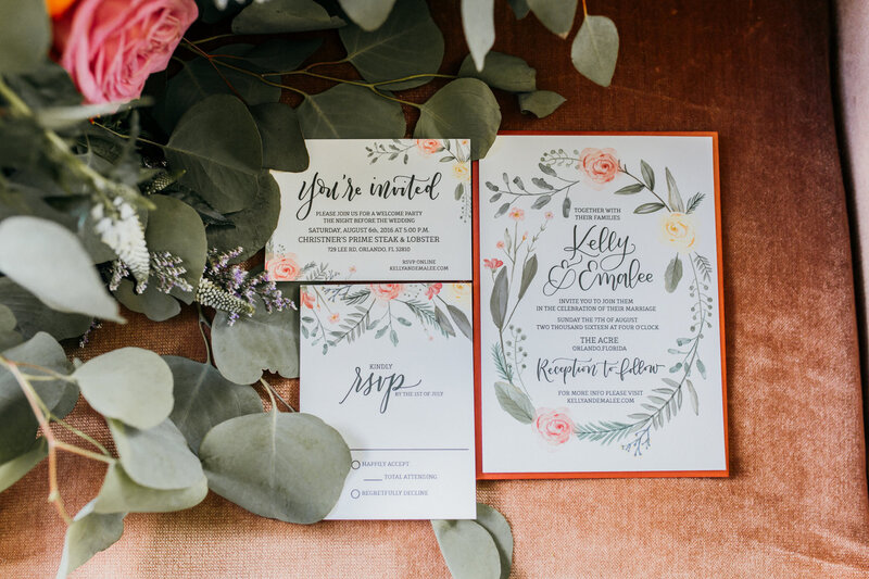 Bohemian Inspired Wedding Invitations with Watercolor Flowers in Yellow and Pink