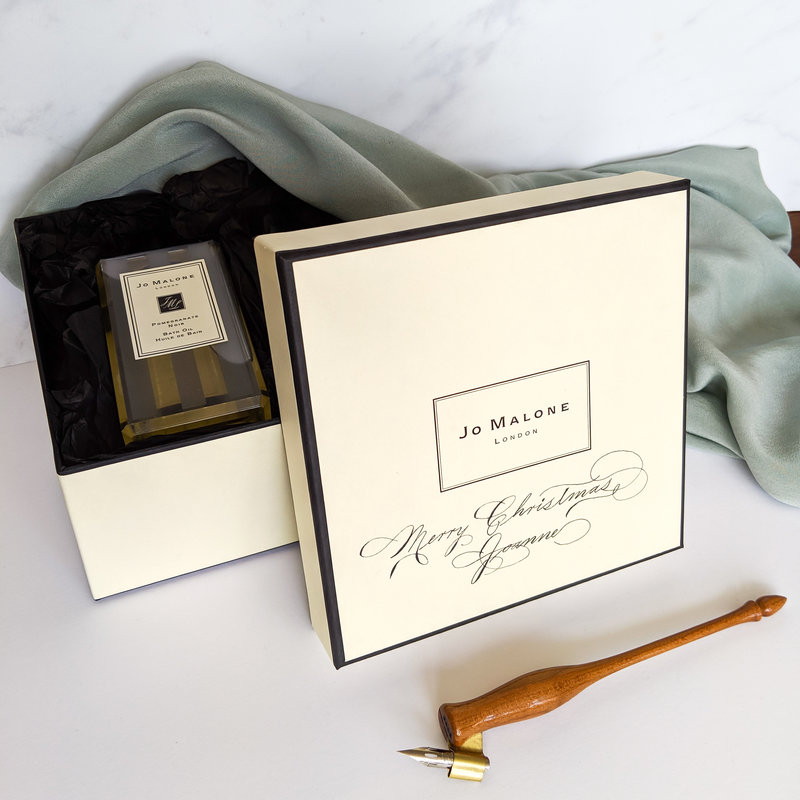 Calligraphy added to Jo Malone Gift boxes for Christmas