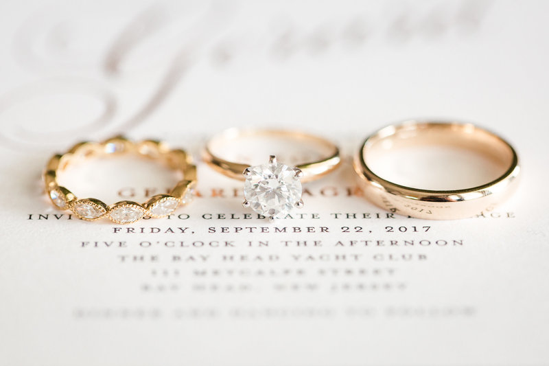 Wedding bands on gold invitation