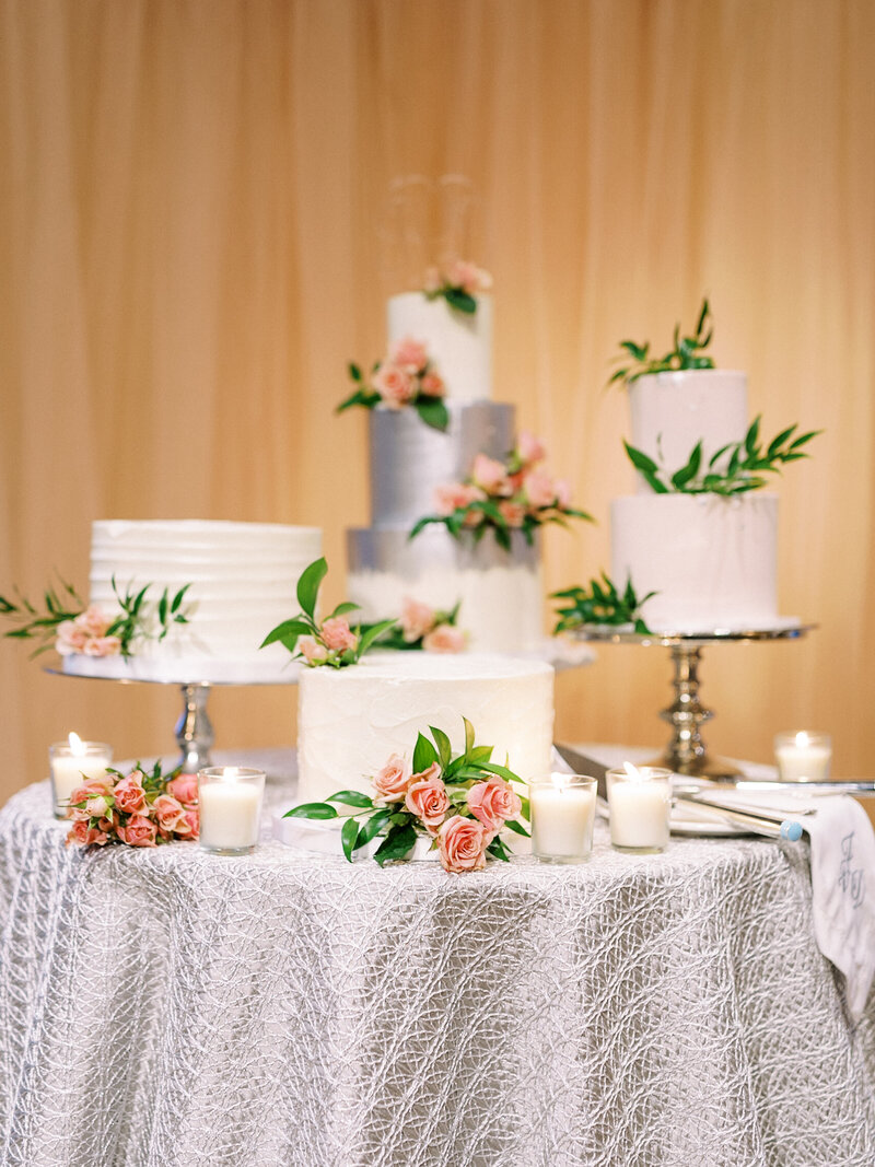 Four Silver and Pink Wedding Cakes