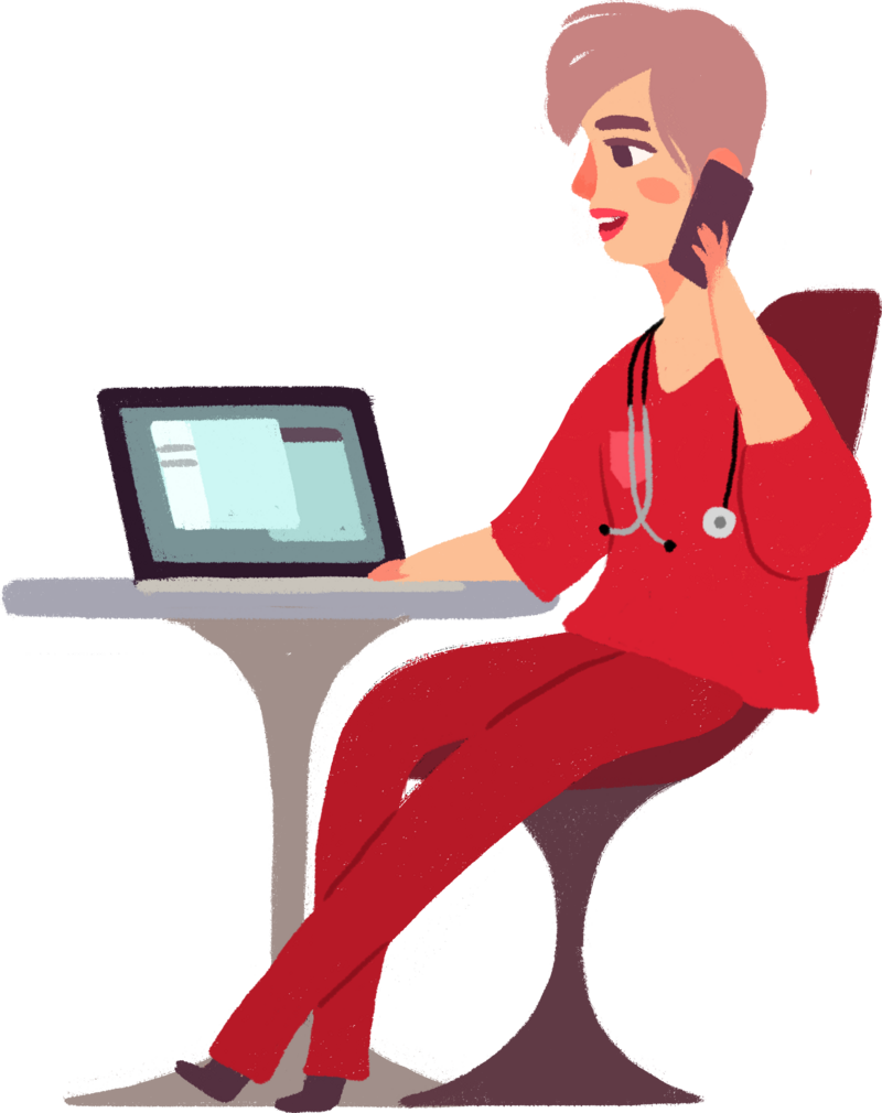 cartoon woman nurse in red scrubs working on laptop