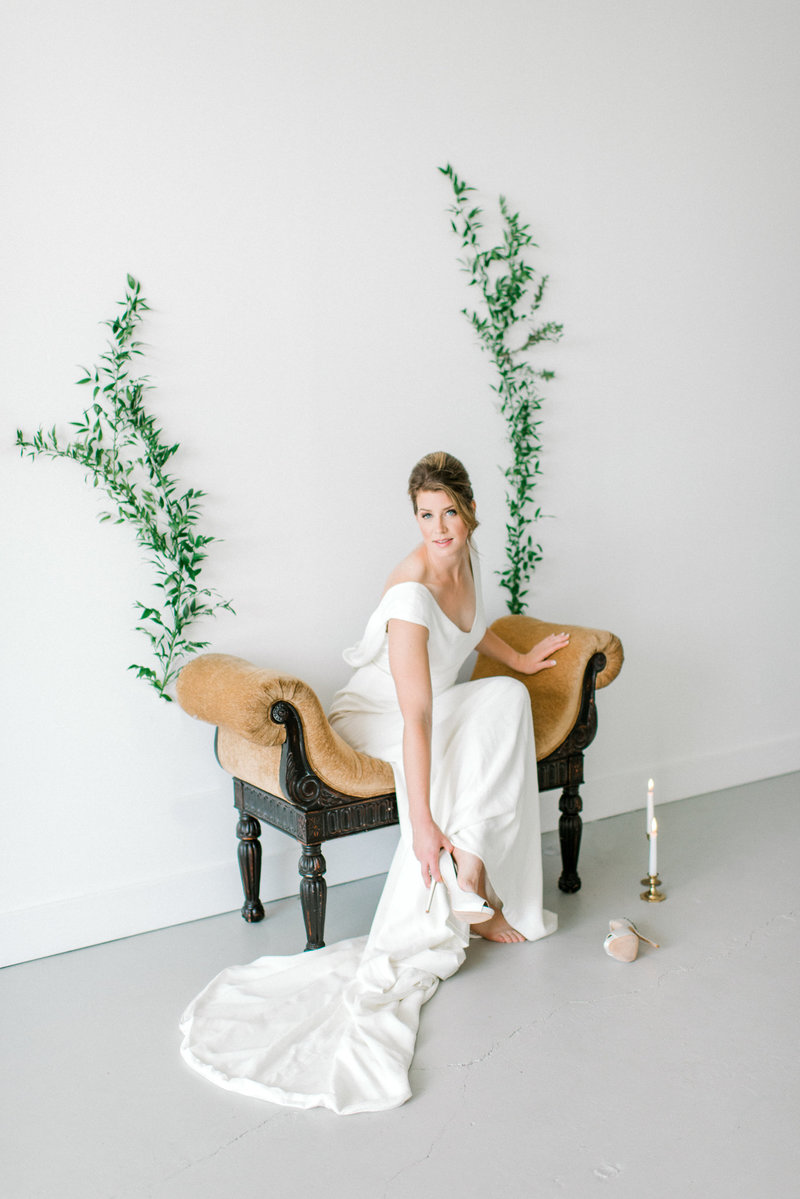 bride on Wild Poppy vintage bench rental