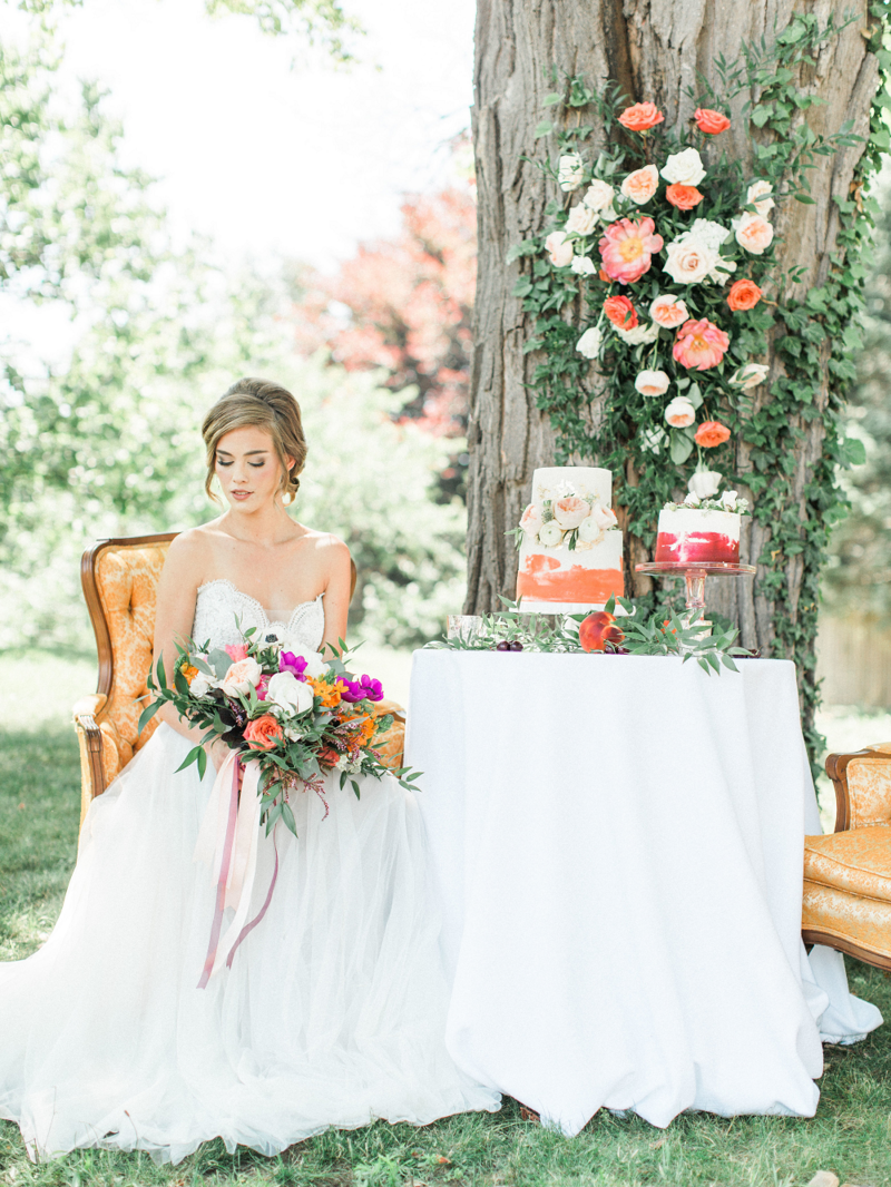 Whimsical Summer Wedding Styled Shoot at Henderson Castle Featured in WeddingDay Magazine Bride with Cake Display