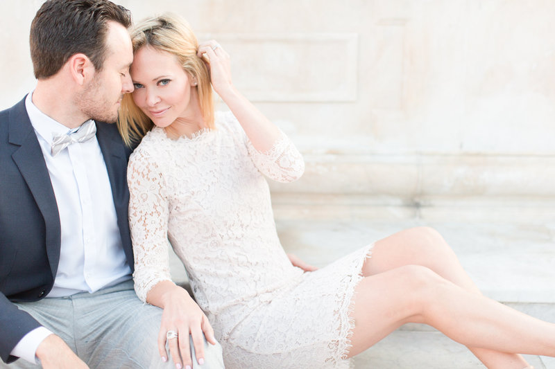 Blush Lace Dress Engagement Session | Amy & Jordan Photography