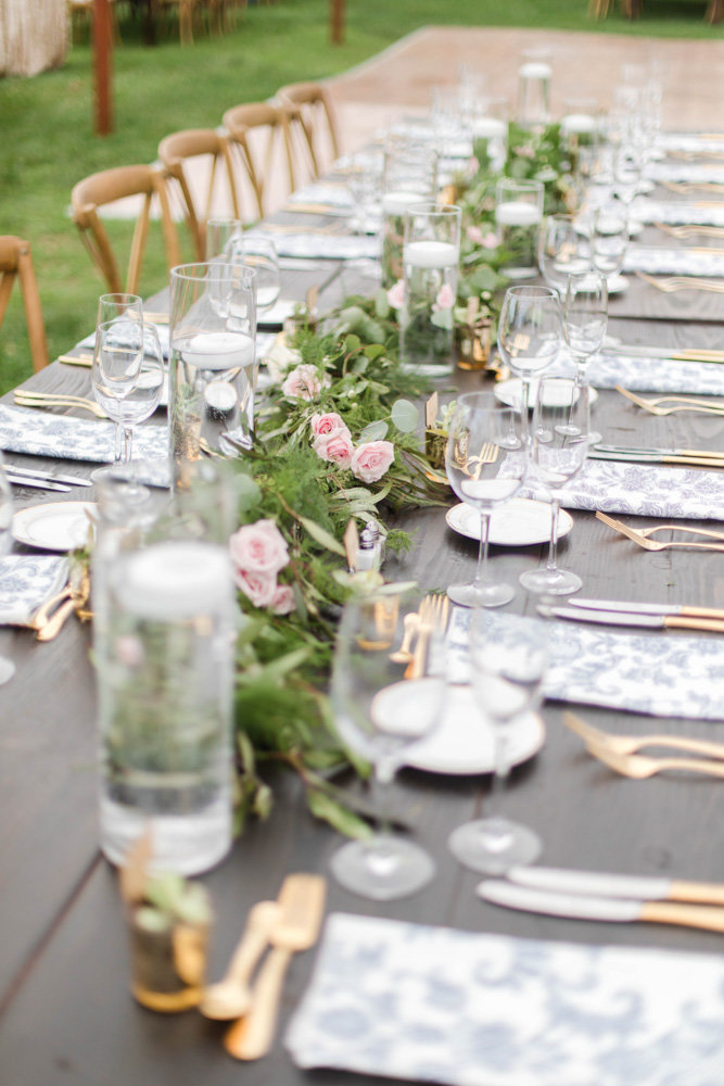 long farm tables at eastern shore wedding at kirkland manor by costola photography