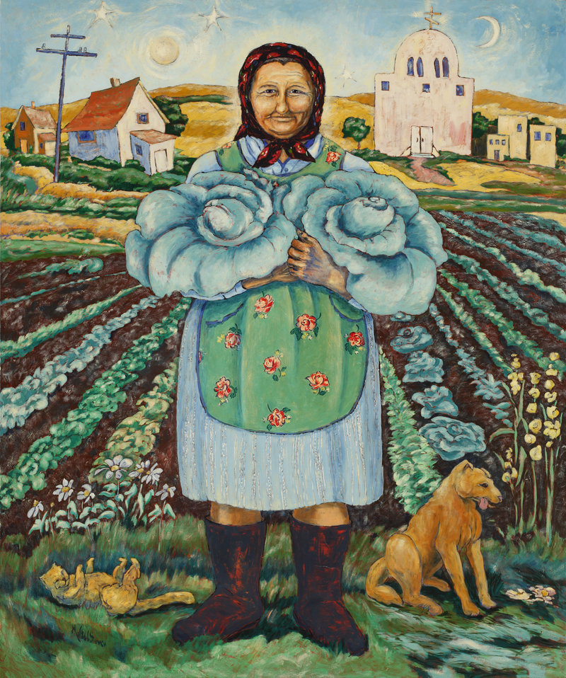 Oil Painting of a Grandmother in Babushka holding cabbages from her garden in front of her cottage farm house and church.