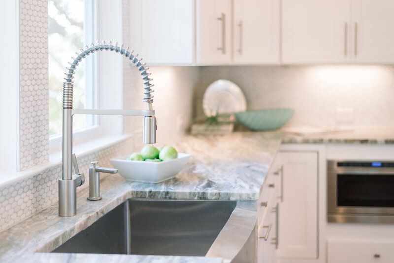 kitchen sink with gray and white marble