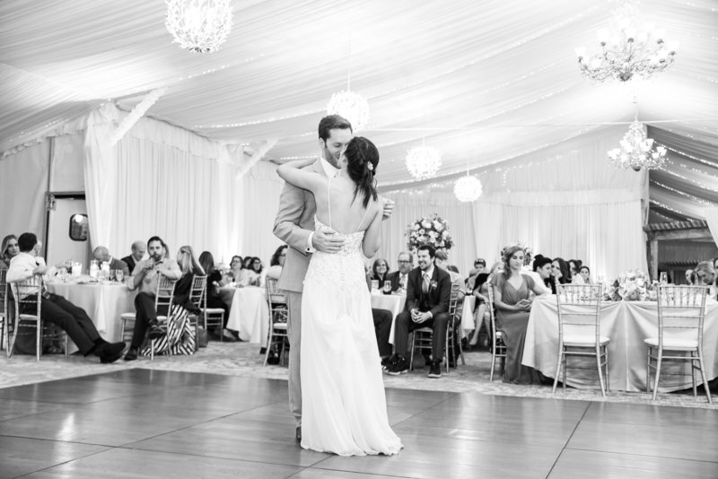 monte bello estate wedding reception bride and groom dancing