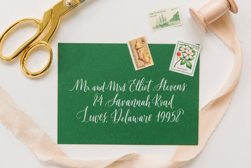 Wedding envelopes paired with white ink and Lewes Lettering Co calligraphy