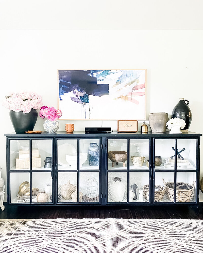 Living Room Console - Shelf Styling - Kari Beckett Design