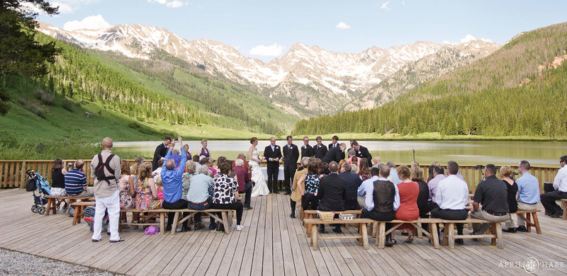 Wedding on the deck at Piney River Ranch