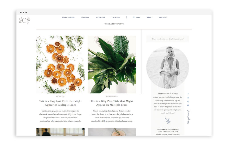 Entertain with Grace - Custom Brand and Showit Web Design by With Grace and Gold - Branding and Web Design for Bloggers - 2