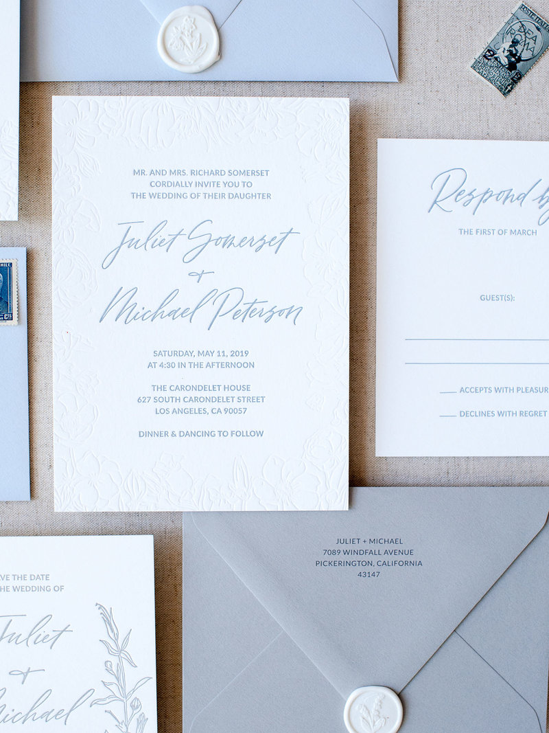 Closeup of 4-Piece Semi-Custom Invitation Collection - Wild Bouquet