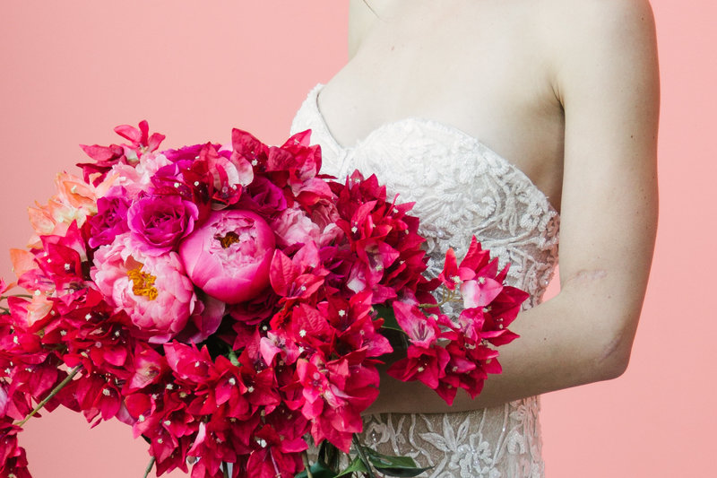 Pink florals at Palm Springs Elopement