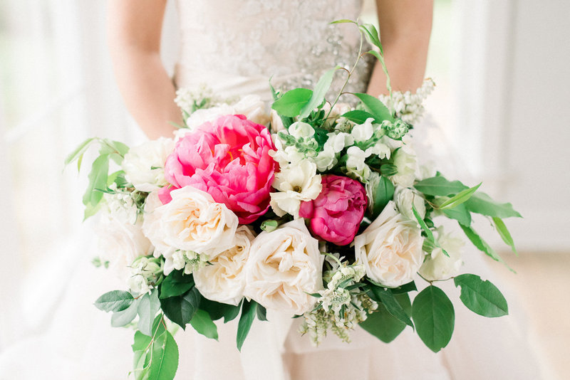 Virginia Wedding Photo of Bride and Peonies Bouquet by Tucson Wedding Photographer | West End Photography