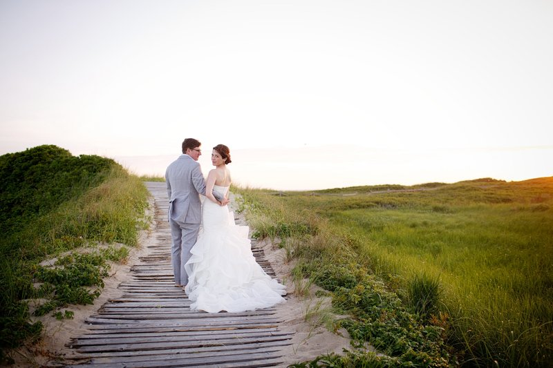 Bride and Groom at Destination Wedding at Martha's Vineyard Beach