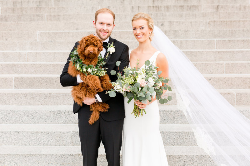 Bride and Groom Portraits with dog | Megan Snitker Photography | Iowa City Wedding Photographers