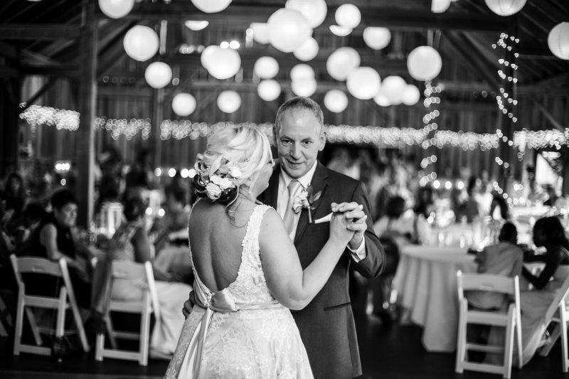 Bride dances with father at Betsy's Barn