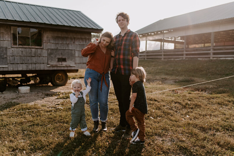 Fall family session at sunset on a farm at Traders Point Creamery in Indianapolis