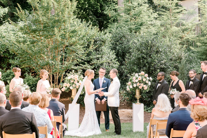 Bride and groom say vows at their ceremony